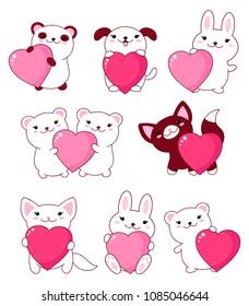 Set of cute baby animals - polar bear, panda, dog, bunny, cat. With pink and red shiny Valentine hearts kawaii style. EPS8