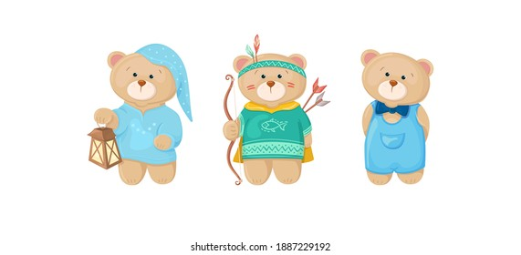 Set of cute baby bears in cartoon style. Character in pajamas, sleeping cap with a flashlight. Dressed as an Indian. In a denim jumpsuit with a bow tie. Vector illustration isolated on white backdrop