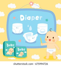 set cute baby with diapers on pattern cloud