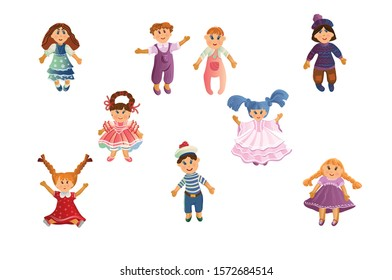 Set of cute baby dolls in different clothes and with varied hairstyles. Vector illustration in flat cartoon style.