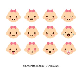 Set of cute baby emoticons. Very simple but expressive cartoon baby girl faces with pink bows. Modern flat vector style.