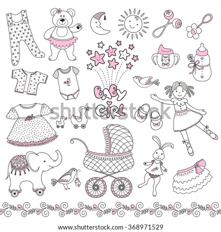 272877ab2 Set Cute Baby Girl Things Vector Stock Vector (Royalty Free ...