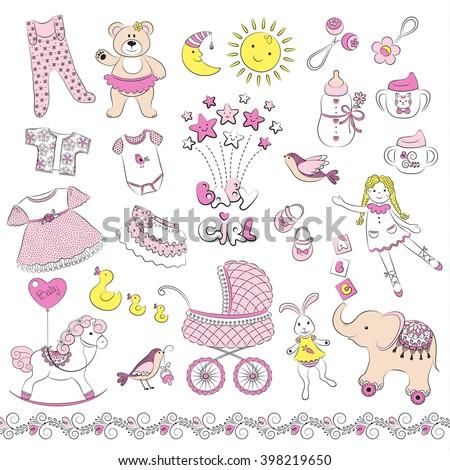 b08a1e4e4 Set Cute Baby Girl Things Vector Stock Vector (Royalty Free ...