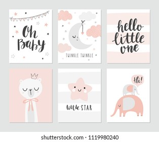 Set of cute baby shower cards including moon, clouds, star, elephants, bear and modern calligraphy phrases: hello little one and oh, baby. Vector illustrations for invitations, greeting cards, posters