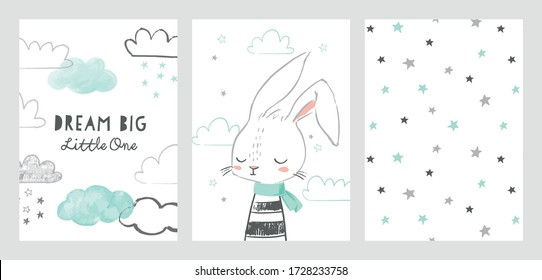 Set of cute baby shower cards or nursery posters. Hand drawn bunny, clouds, stars, phrase dream big little one. Vector illustrations for invitations, greeting cards, posters