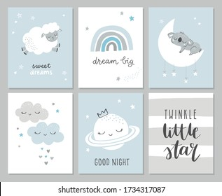 Set of cute baby shower cards including moon, clouds, star, koala bear, she and modern calligraphy phrases: dream big, twinkle little star. Vector illustrations for invitations, greeting cards, poster