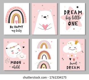 Set of cute baby shower cards with little bear, moon, star, rainbow, cloud and calligraphy quotes. Perfect for invitations, greeting cards, posters.  Vector illustration.