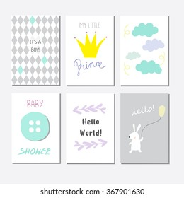 Set of cute baby shower invitation cards for newborn boy, it's a boy