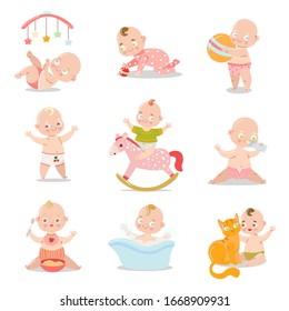 Set of a cute baby in underpants with different situations. Vector illustration in flat cartoon style.
