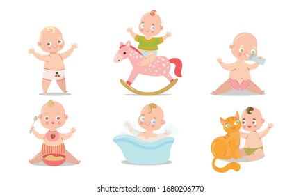 Set of a cute baby in underpants in different situations. Vector illustration in flat cartoon style.