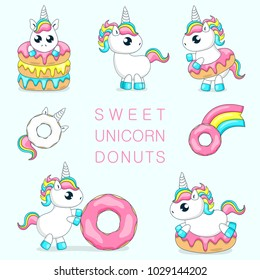 Set of cute baby unicorns playing with donuts.Vector illustration