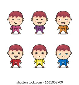 Set Of Cute Baby Vector With Different Expressions