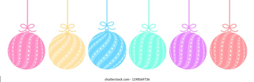 Set of cute balls in pastel colors (red, yellow, pink, blue, green, purple). Toys with stripes and dots hangs on thin ribbon bow. Element of Christmas tree decoration. Xmas vector isolated on white.
