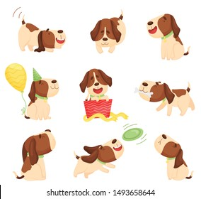 Set of cute beagle puppies. Vector illustration on a white background.