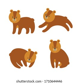 Set of cute bears for prints and patterns on textile, paper and other materials. Vector illustration in cartoon style
