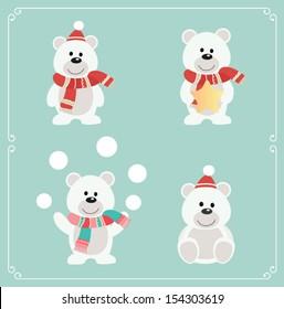 Set of cute bears. Vector illustration