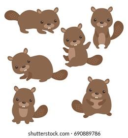 Set of cute beavers on white background.