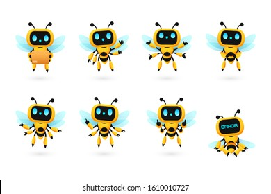 Set of cute bee robot ai character in many pose, kawaii mascot vector for future concept illustration