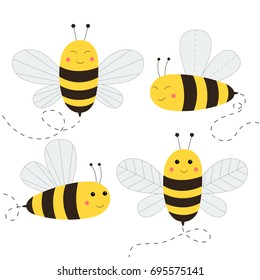 Set of cute bees. Vector illustration