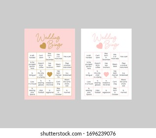 Set of cute bingo cards for wedding. Guess the guest game. Easy printable vector template: 10*14 in