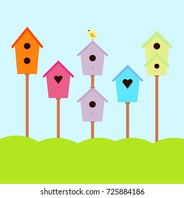 a set of cute bird houses and bird in a row, collection of colorful birdhouses
