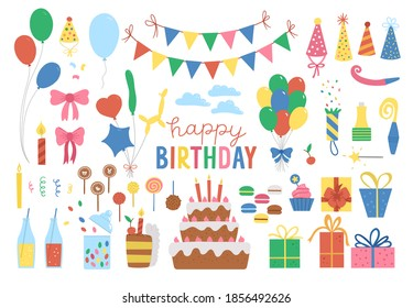Set of cute Birthday design elements. Party celebration clipart collection. Vector holiday pack with bright presents, cake with candles, balloons, flags. Happy anniversary icons isolated on white
