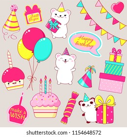 Set of cute Birthday party icons in kawaii style. Polar bear and panda with gift, cake with candles, flags, stack of gifts, candy, balloons, sticker with inscription just for you, make a wish. EPS8