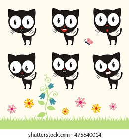 Set of cute black cat with big eyes in different emotions.