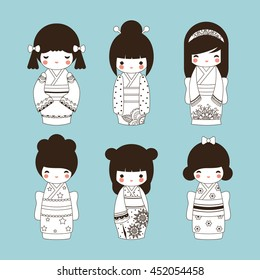 Set of cute black and white outline Japanese Kokeshi Dolls.