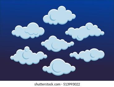 Set of cute blue clouds. Flat design. Vector illustration