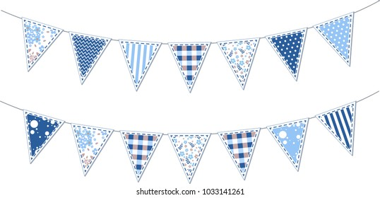 Set of cute blue party flags buntings, garlands isolated on white background,   for baby shower, wedding, birthday, retro party. Holiday vector decorations illustration.