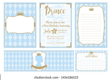 A set of cute blue templates for invitations, water bottles, wishes card. Vintage gold frame with crown. A little prince party. Baby shower, birthday invite card. Arabic pattern with rhombus, diamonds