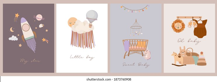 Set of cute boho baby cards in Scandinavian style. Cartoon doodle kids clipart for baby shower invitation card, poster. Editable vector illustration. - Shutterstock ID 1873760908
