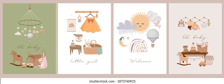 Set of cute boho baby cards in Scandinavian style. Cartoon doodle kids clipart for baby shower invitation card, poster. Editable vector illustration. - Shutterstock ID 1873760923