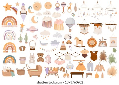 Set of cute boho baby objects in Scandinavian style. Cartoon doodle kids clipart for baby shower invitation card, nursery room decor, poster. Editable vector illustration. - Shutterstock ID 1873760902
