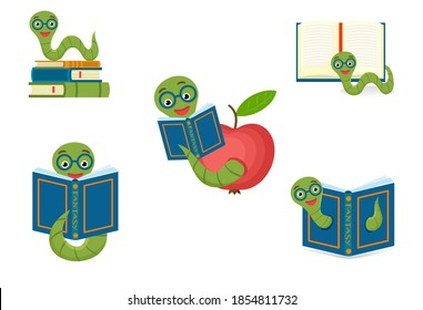 Set cute bookworm with glasses next to books, isolated on white background. Education concept. Vector cartoon illustration.