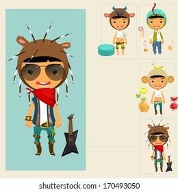 Set of cute boy in animal hat