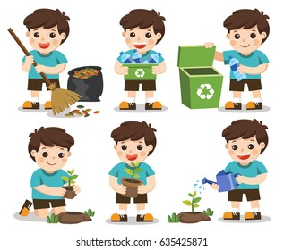Set of A cute boy. Save Earth. Waste recycling. Girls planted and watering young trees. He is gathering garbage and plastic waste for recycling. Isolated white background