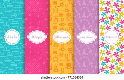 Set of Cute bright seamless child patterns. Vector illustration bright design. Abstract seamless hand drawn patterns on vibrant background. Baby shower invitation