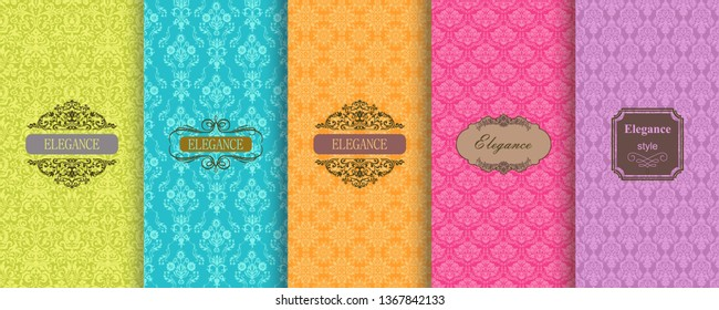 Set of Cute bright seamless patterns with frames. Seamless Damask pattern on vibrant background. Islam, Arabic, Indian, Ottoman motifs. Vector hand drawn illustration.
