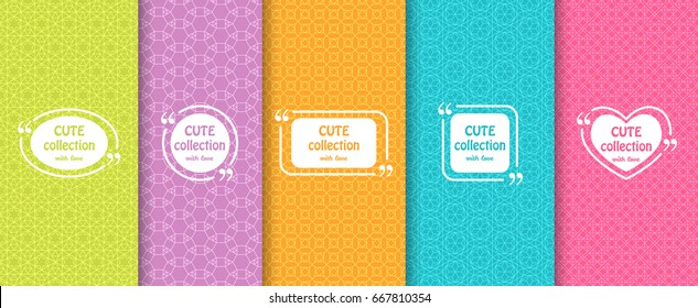 Set of cute bright seamless patterns with frames. Abstract geometric background. Vector illustration.