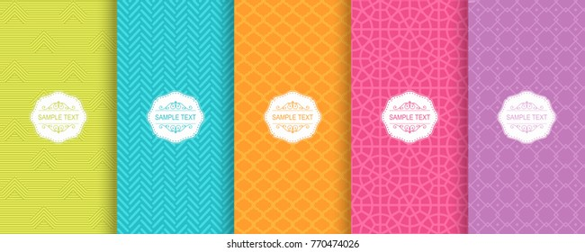 Set of Cute bright seamless patterns. Vector illustration bright design. Abstract seamless geometric pattern on vibrant background.