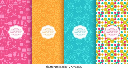 Set of Cute bright seamless patterns. Vector illustration design elements for birthday party. Abstract retro patterns on vibrant background.