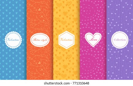 Set of Cute bright seamless patterns with hearts. Vector illustration bright design. Abstract seamless hand drawn patterns on vibrant background.