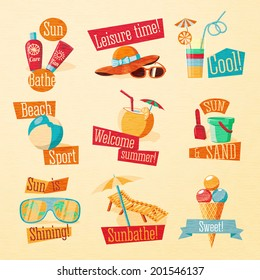 Set of cute bright summer icons with typographic elements. Tan and suncare cream, beach ball, hat and sun glasses, cocktail, sand paddle with bucket, chaise longue and umbrella, ice cream. Vector.