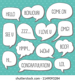 set of cute  bubble speech vector template with retro cartoon style, vintage concept, bithday, sticker