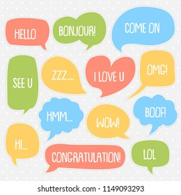 set of cute  bubble speech vector template with retro cartoon style, vintage concept, birthday, sticker