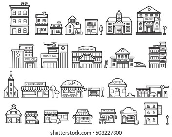 Set of cute building doodle