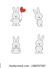 A set of cute bunnies. Bunny shy, winking, joyful and a bunny with a heart-shaped balloon. Print for children's t-shirts. Vector illustration EPS 10.