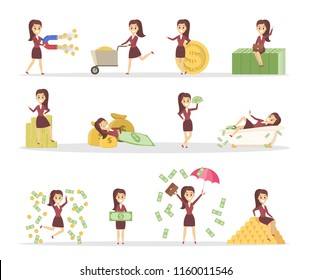 Set of cute business woman with money. Jumping with a pile of money, sitting on the banknotes and swimming in bath full of cash. Financial well-being. Isolated flat vector illustration